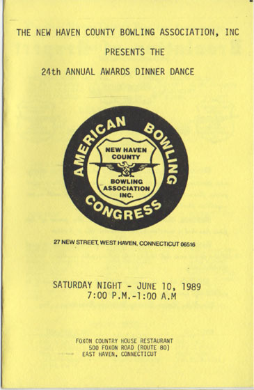 1989 Awards Dinner Booklet Cover