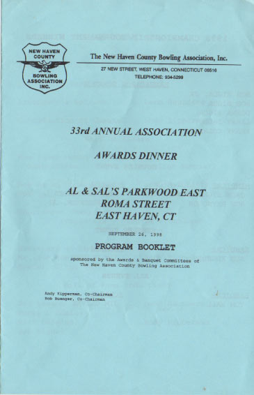 1998 Awards Dinner Booklet Cover
