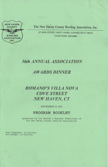 2001 Awards Dinner Booklet Cover