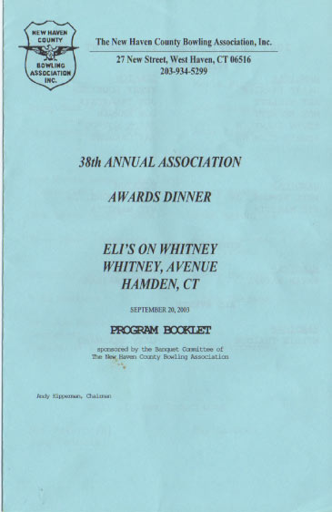 2003 Awards Dinner Booklet Cover