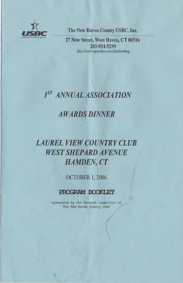 2006 Awards Dinner Booklet Cover