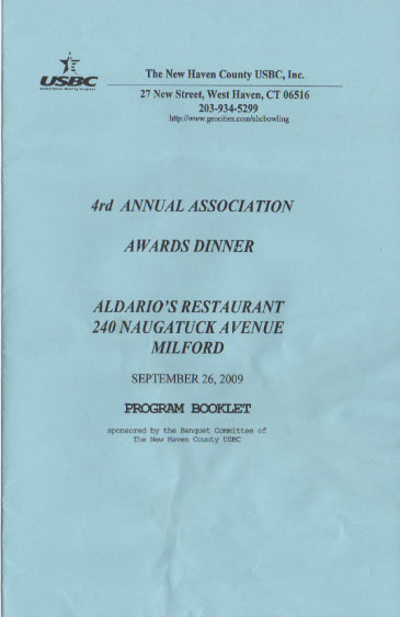 2009 Awards Dinner Booklet Cover